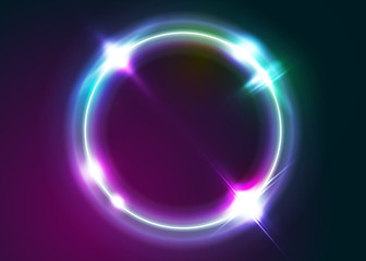 Vector Neon Rounded Frame Illustration. Abstract Background with Led Light Effect. Shining Circle Shape with Vibrant Electric Blue, Pink, Violet Colors. Glowing Digital Symbol. Minimal Neon Design.