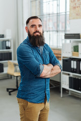 Casual bearded businessman or entrepreneur