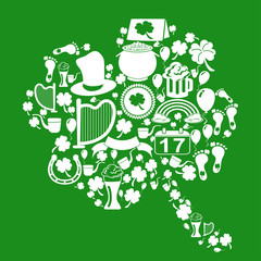 clover leaf with st patrick icons on green background