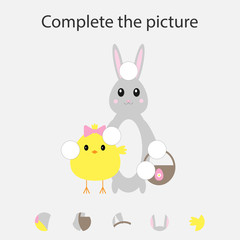 Complete the puzzle and find the missing parts of the picture, fun education easter game for children, preschool worksheet activity for kids, task for the development of logical thinking, vector