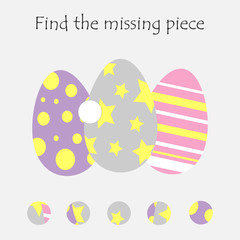 Complete the puzzle and find the missing piece, fun education easter game for children, preschool worksheet activity for kids, task for the development of logical thinking, vector illustration