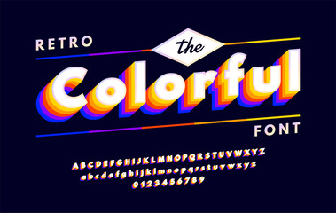 Retro alphabets with VHS look effects. Colorful 90's font isolated on dark background. vector illustration