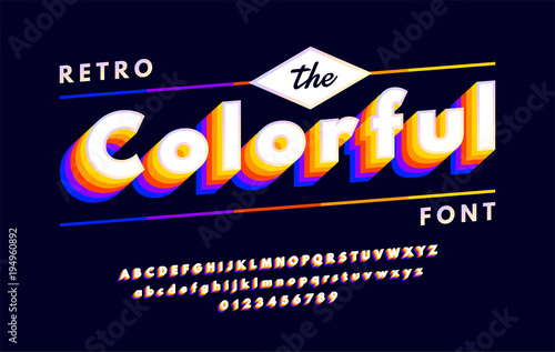 Retro alphabets with VHS look effects  Colorful 90's font