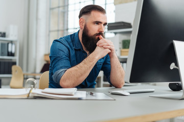 Businessman engrossed in his work