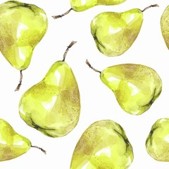 Fruit seamless pattern. Watercolor background with pears 1
