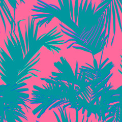 Tropical palm and coconut leaves, minimal flat style vector, sweet pastel pink and green, seamless pattern