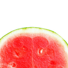 Ripe, juicy, pink, sweet of watermelon close-up isolated on white background. Macro. Seedless watermelon background. Big red berry in a cut. Citrullus lanatus, cucurbitaceae