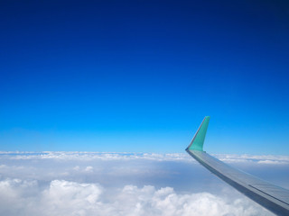 Cloudy sky with wing of airplane.