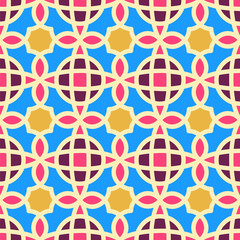 Vector Abstract multicolor Seamless Pattern. Vintage Geometric East Ornament Pattern. Islamic, Arabic, Indian, Boho Style.