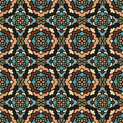 Vector Abstract Seamless Pattern in blue. Vintage Geometric East Ornament Pattern. Boho Style.