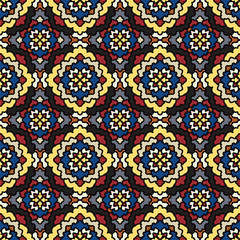 Vector Abstract multicolor Seamless Pattern. Vintage Geometric East Ornament Pattern.