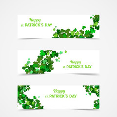 St Patrick's Day Vector banners with shamrock. Lucky spring symbol. Clover in green shades isolated on white background.