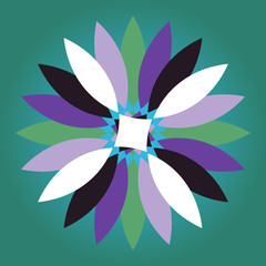 Vector multicolored daisy with colorful flower petals
