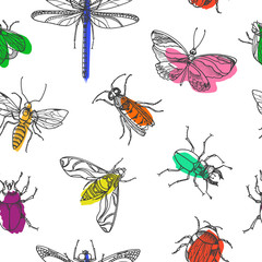 Seamless pattern of insects. Vector doodle illustration