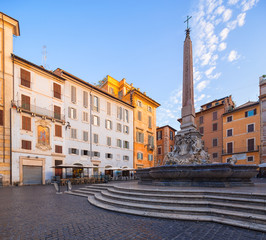 Fototapete - Fountain in front of the Pantheon in the Piazza della Rotonda. Rome. Italy.
