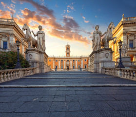 Fototapete - Cordonata Capitolina and Dioscuri  statues (Castor and Pollux) in the entrance to Capitoline Hill, Rome, Italy.