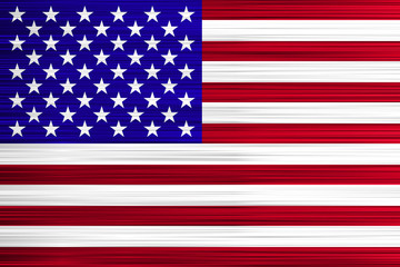 Vector concept of USA Flag. Red stripes and white stars on blue background with specific effect.