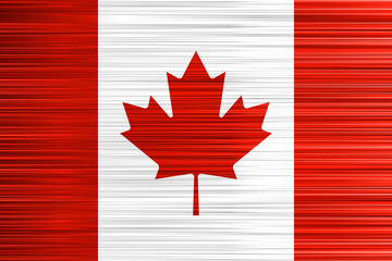 Vector concept of Canadian Flag. Red white and Maple Leaf background with specific effect of uneven stripes.