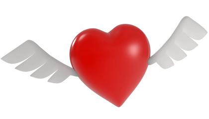 3d Herz mit Flügel
