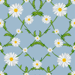 Seamless pattern of crossed chamomiles
