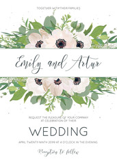 Vector elegant floral wedding invite save the date card design with watercolor style pink anemones, eucalyptus leaves, white lilac flowers, greenery border and tiny gray dots. Cute invitation template