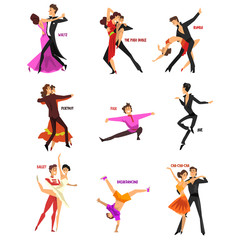 Professional dancer people dancing, young man and woman dressed in elegant clothing performing dances vector Illustrations on a white background