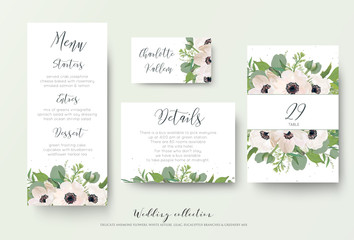 Wedding menu, details, information, escort place card, table number design with watercolor style light pink anemone flowers, eucalyptus leaves, white lilac flowers, greenery decoration. Romantic set