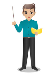 Male Teacher Holding Pointer and Book
