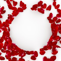 Red rose petals scattered on the floor. In the center an empty space for Your design