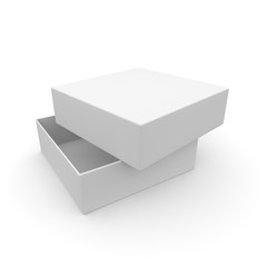 White empty box for products and goods on white isolated background