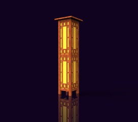 Japanese wooden lamp. 3D image