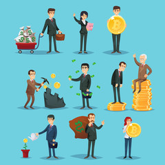 Vector illustration with set of icons showing different businesspeople succeed in bitcoin commerce.