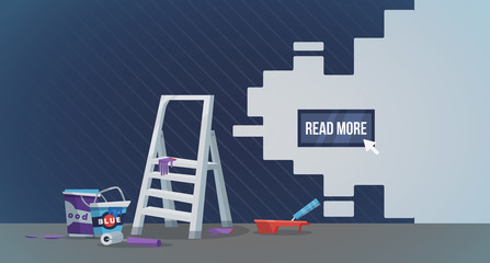 Vector illustration of creative mess while reconstructing interior design and helpful web.