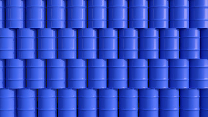 Oil barrels blue wall composition 3d illustration