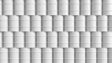Oil barrels  white wall composition 3d illustration