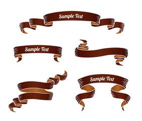 Set of brown vintage scroll ribbon banners. Vector illustration.