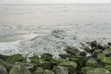 Frozen sea with ice floes