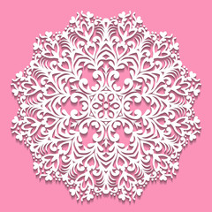 Openwork white napkin. Lace frame round element on pink background. Decorative element, EPS 8.