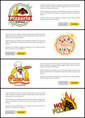 Pizzeria Italian Recipes Set Vector Illustration