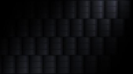 black background oil barrels wall 3d illustration
