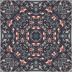 Square arabic pattern for the silk scarf, scarf, printing factory, carpet. Abstract pattern red and gray color. Vector illustration.