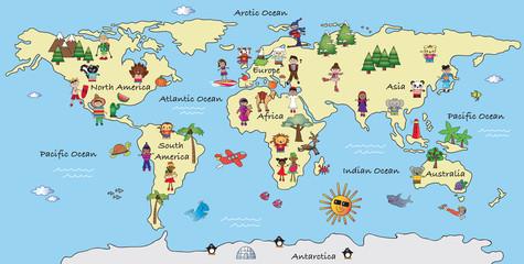 Photo sur Toile Carte du monde world map