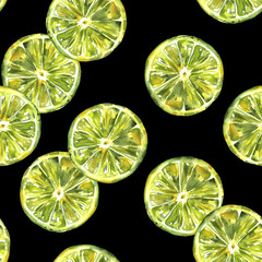 A seamless background pattern with watercolour limes