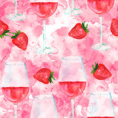 Seamless pattern with rose wine and strawberries, watercolour, repeat print on pink