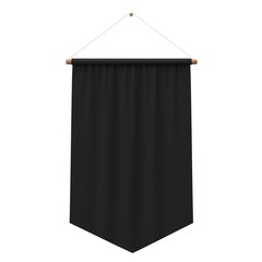 Realistic black cloth hanging banner. 3D Rendering