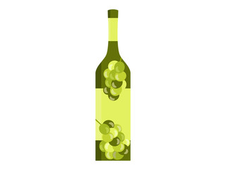 Bottle with the image of olives or grapes. Flat style isolated on white background. Vector illustration