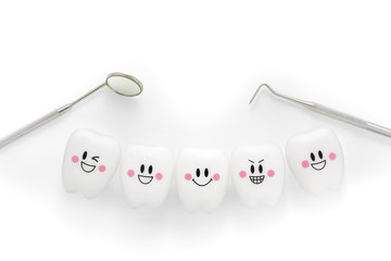 Teeth smile emotion with dental mirror and dental plaque cleaning tool isolated on white background, With clipping path