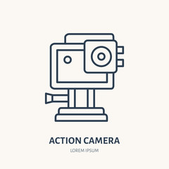 Action camera flat line icon. Extreme photography device sign. Thin linear logo for photo equipment store.