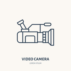 Video camera flat line icon. Movie production device sign. Thin linear logo for equipment store.