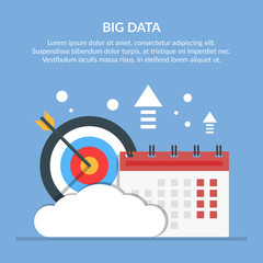 Big or significant date. Image of calendar and target on background of cloud. Flat vector illustration isolated on blue background.